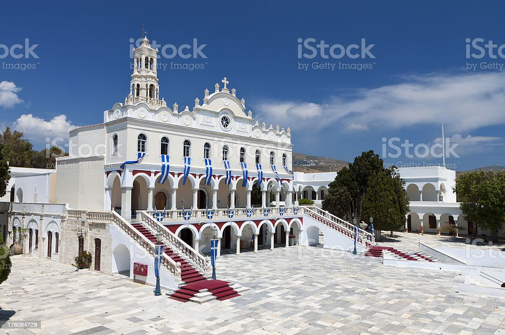 Church of Panagia Evangelistria at Tinos island in Greece stock photo