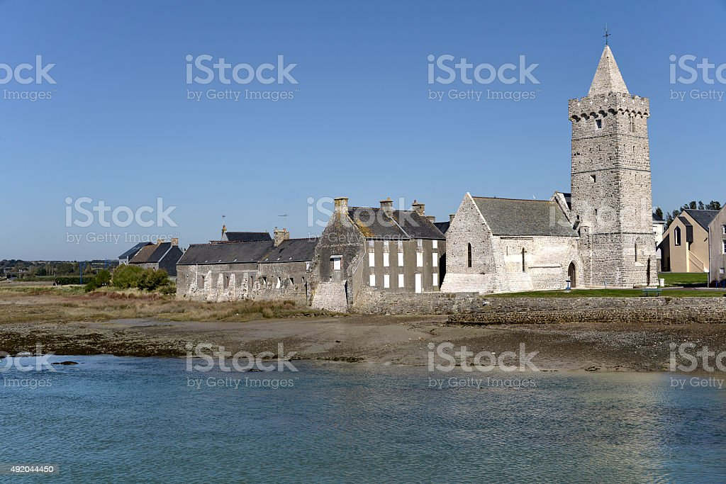 Church of Port-Bail in France stock photo