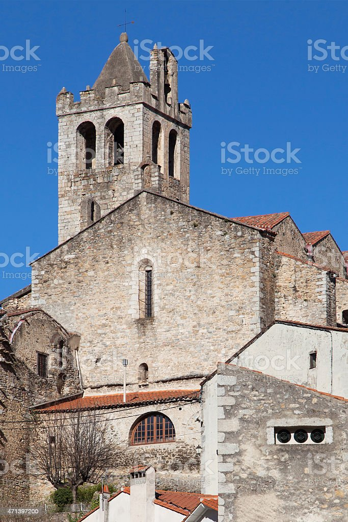 Church of Prats de Mollo stock photo