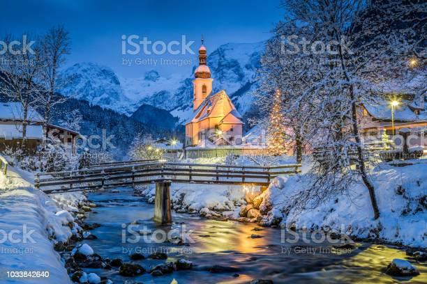 Photo of Church of Ramsau in winter twilight, Bavaria, Germany