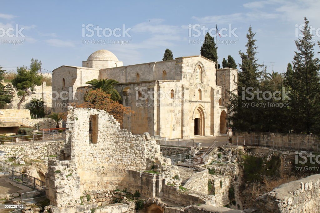 Church of Saint Anne and Pool of Bethesda - Jerusalem - Israel stock photo