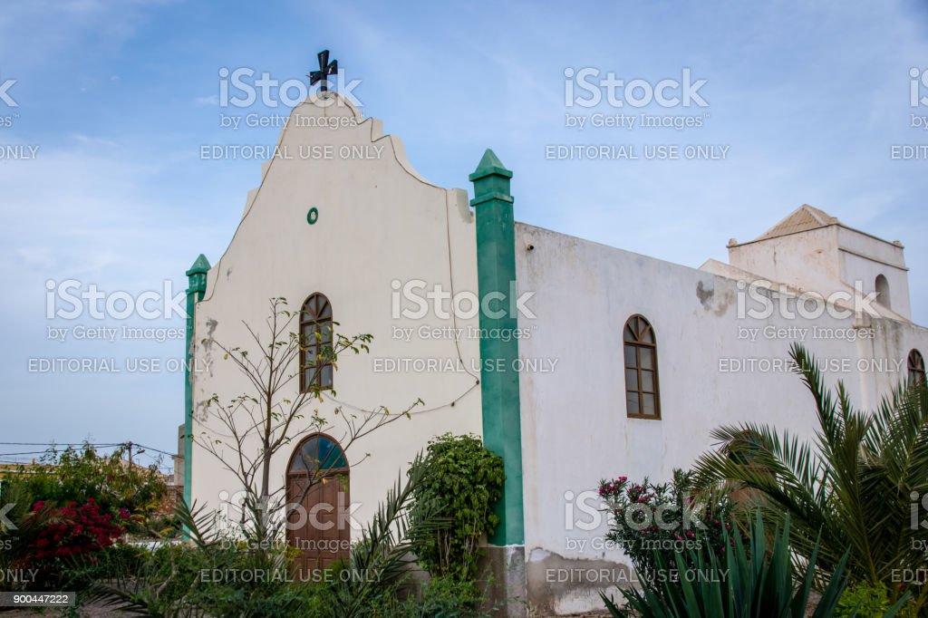 Fundo das Figueiras, Boa Vista, Cape Verde - December 2017: Church of Saint John Baptist in the civil parish of São João Batista (Portuguese meaning Saint John the Baptist) Boa Vista. stock photo
