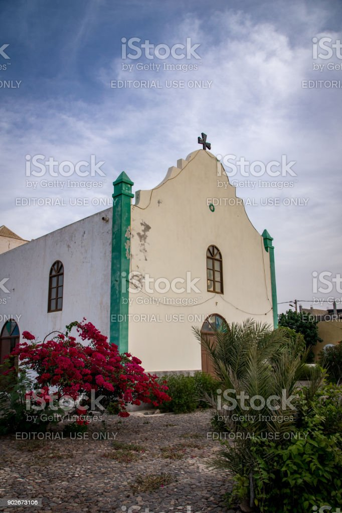 Church of Saint John the Baptist in Fundo das Figueiras, Boa Vista, Cape Verde - December 2017 stock photo