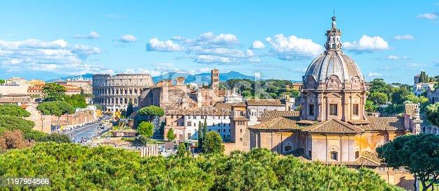Church of Saint Luca and Martina, Italian: Santi Luca e Martina, in Roman Forum, Rome, Italy. Panoramic view.