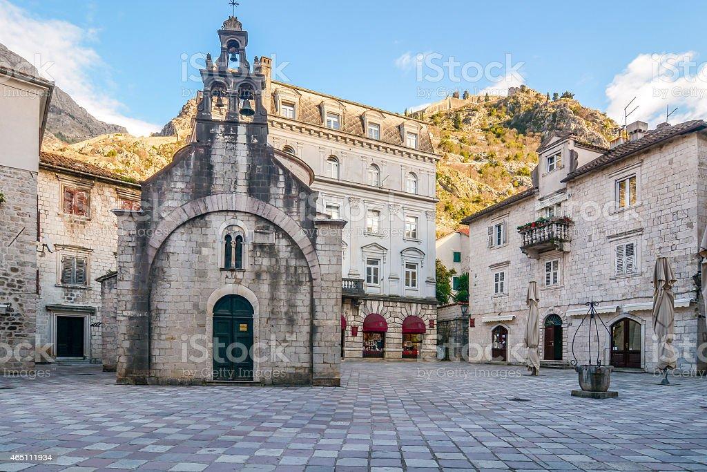 Church of Saint Luke and the square in Kotor, Montenegro stock photo