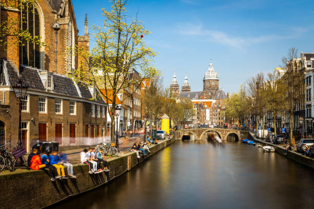 Church of Saint Nicholas in Amsterdam in sunny day, Netherlands stock photo