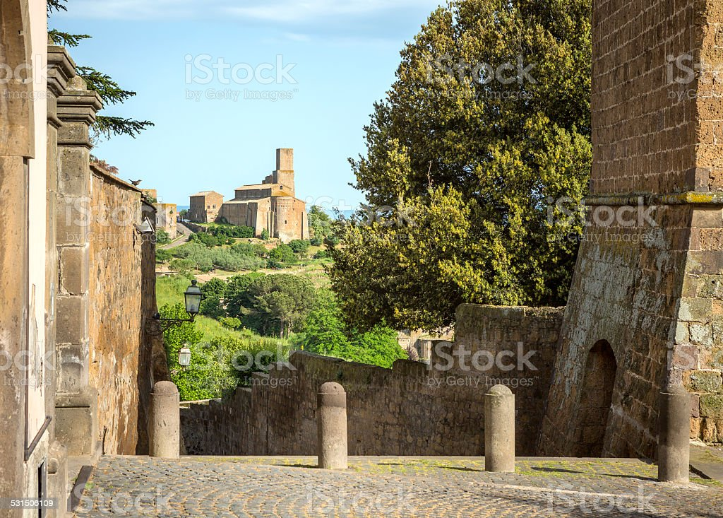 Church of Saint Peter in Tuscania, Lazio Italy stock photo