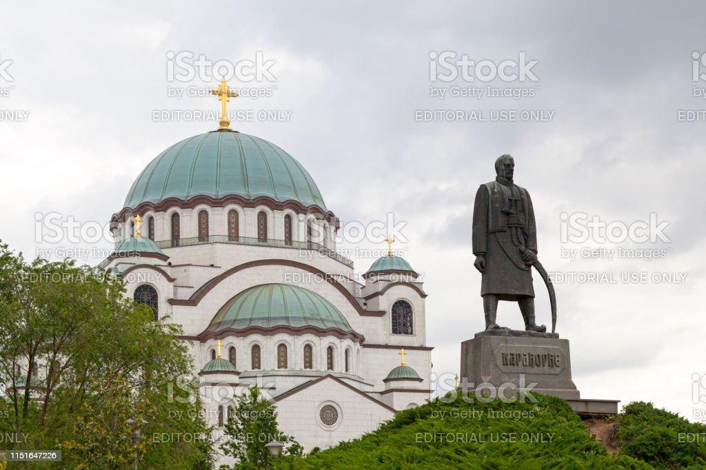Church of Saint Sava & Monument to Karadjordje stock photo
