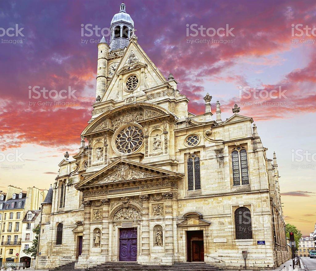 Church of Saint-Etienne-du-Mont (1494-1624) in Paris near Panthe stock photo