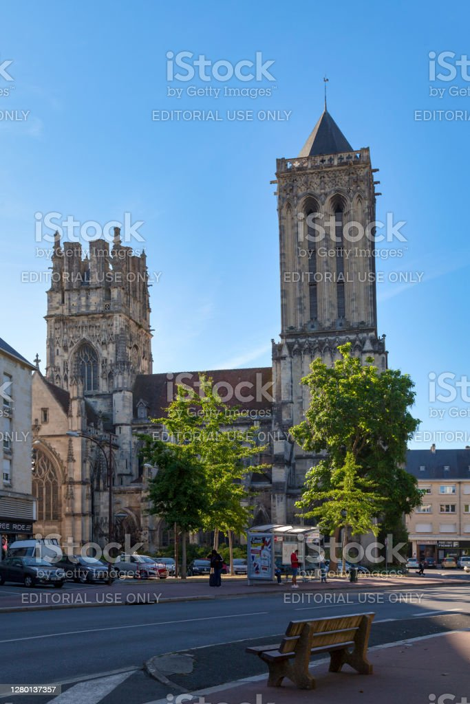 """Church of Saint-Jean in Caen Caen, France -  August 06 2020: The Church of Saint-Jean de Caen is the parish church of the Saint-Jean district in Caen. This monument is the subject of a classification as historical monuments by the list of 1840.""""n Architecture Stock Photo"""