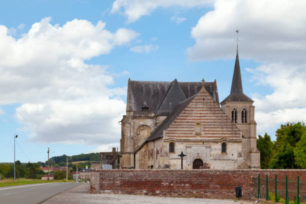 Church of Saint-Ouen in Therdonne stock photo