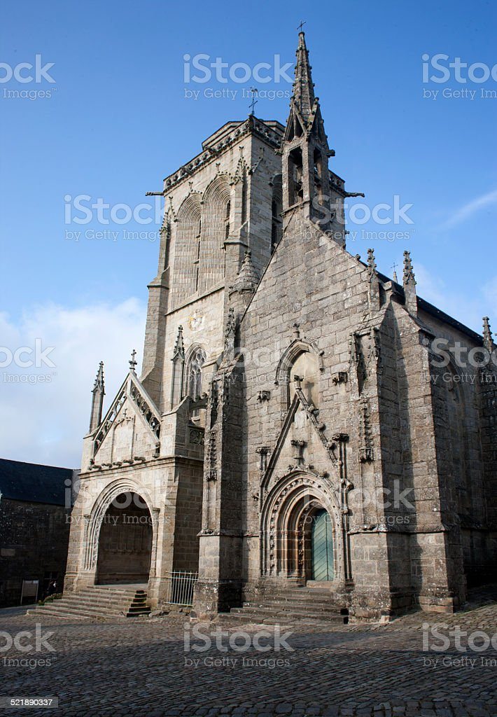 Church of Saint-Ronan de Locronan, Brittany (France) stock photo