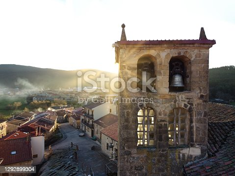 Church of San Adrian martir from drone view in the town of Regumiel de la Sierra in Burgos, Spain.
