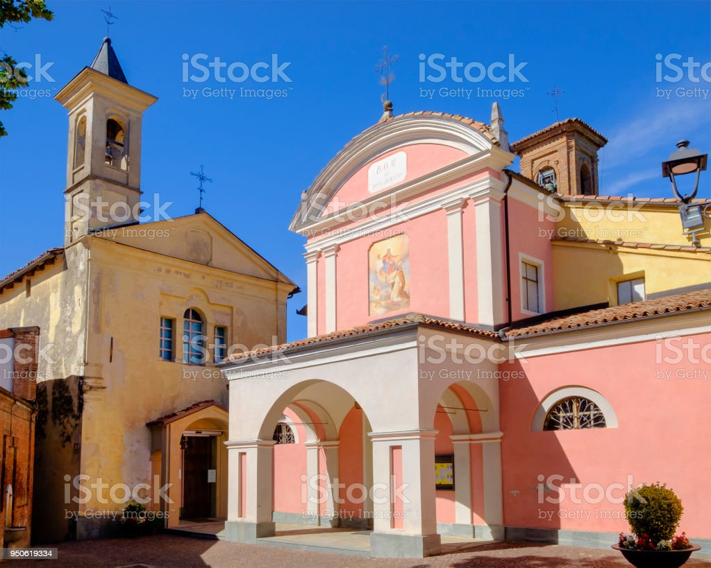 Church of San Donato of Barolo in the Langhe, a hilly area mostly based on vine cultivation and well known for the production of Barolo wine. Province of Cuneo, Piedmont, Italy stock photo