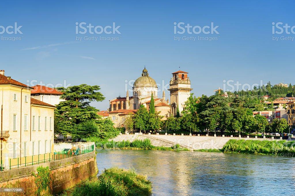 Church of San Giorgio in Braida from Adige River, Verona stock photo