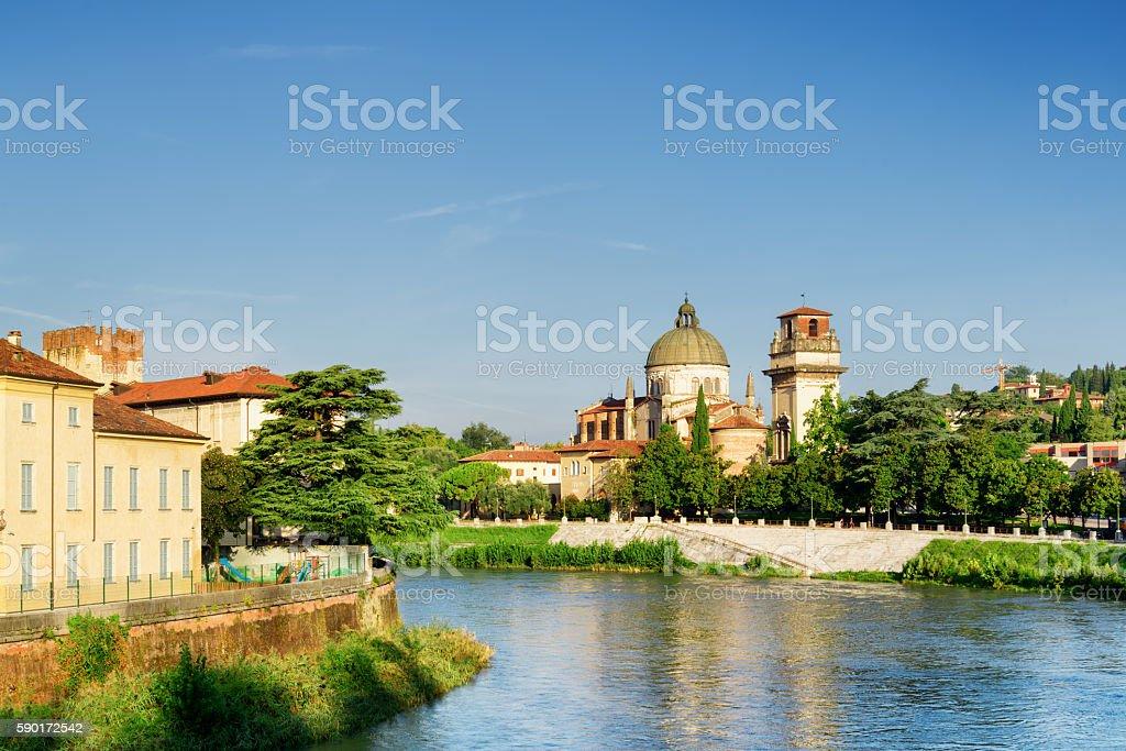 Church of San Giorgio in Braida from Adige River. Verona stock photo