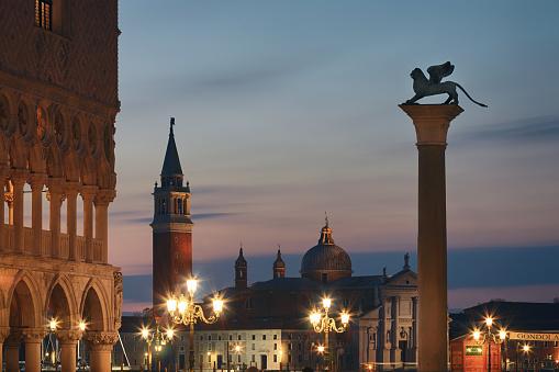 Church of San Giorgio Maggiore and Lion of St. Mark's Square, Venice, Italy