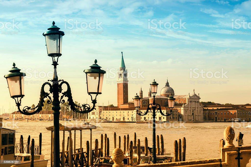 Church of San Giorgio Maggiore at sunrise stock photo