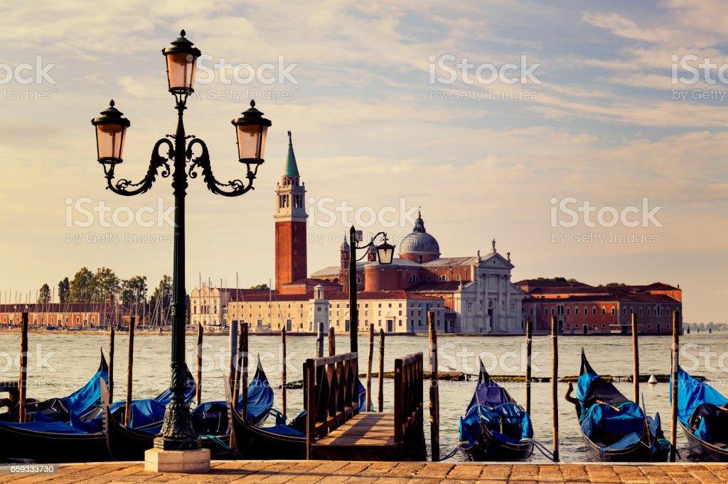 Church of San Giorgio Maggiore in Venice at sunrise stock photo