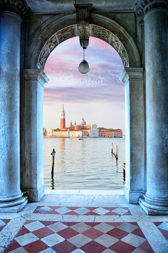 Church of San Giorgio Maggiore at sunrise in Venice, Italy