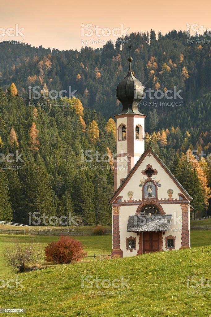 Church of San Giovanni in Ranui. Val di Funes, Italy. Autumn season. stock photo