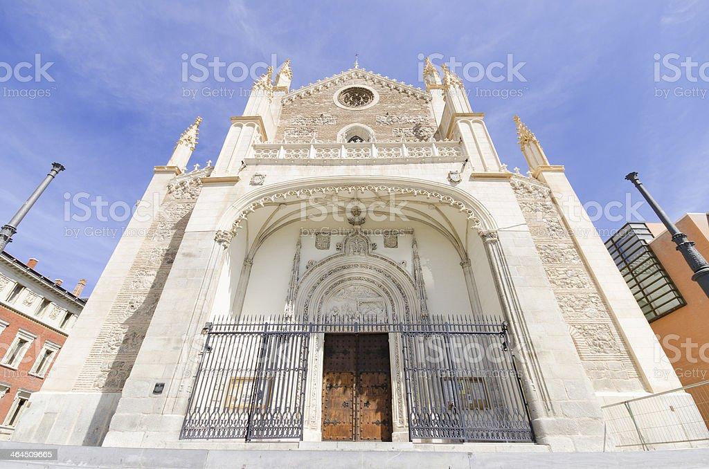 Church of San Jeronimo, Madrid. Famous landmark in Spain. stock photo