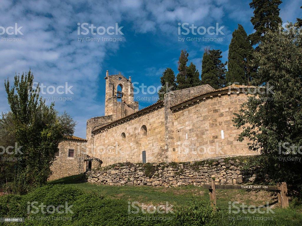Church of Santa Maria de Porqueres stock photo
