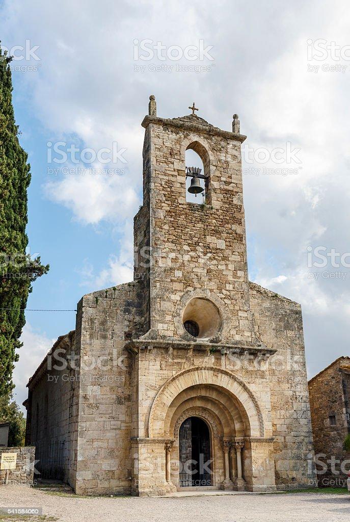 Church of Santa Maria de Porqueres Spain, Catalunya, Girona stock photo