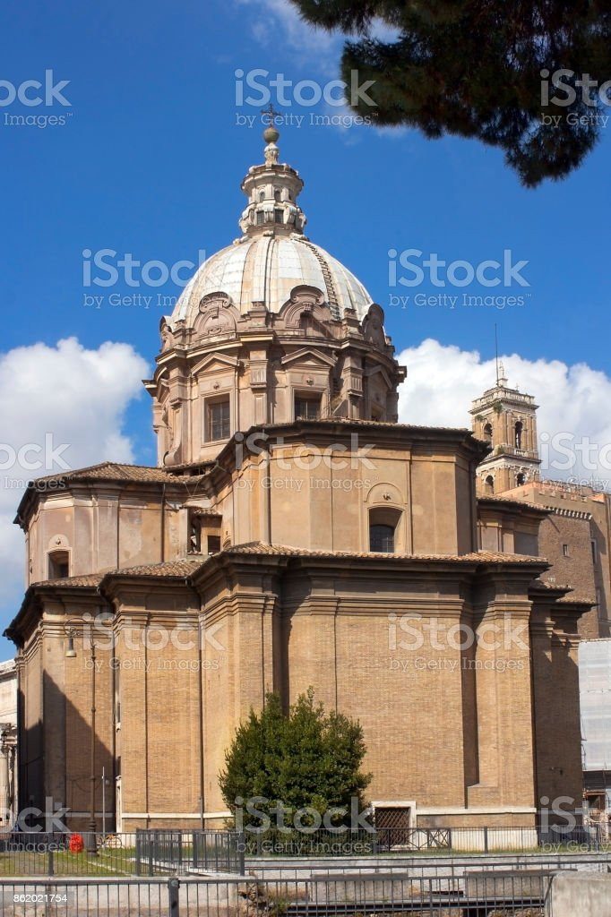 church of Santi Luca e Martina in Rome, Italy stock photo