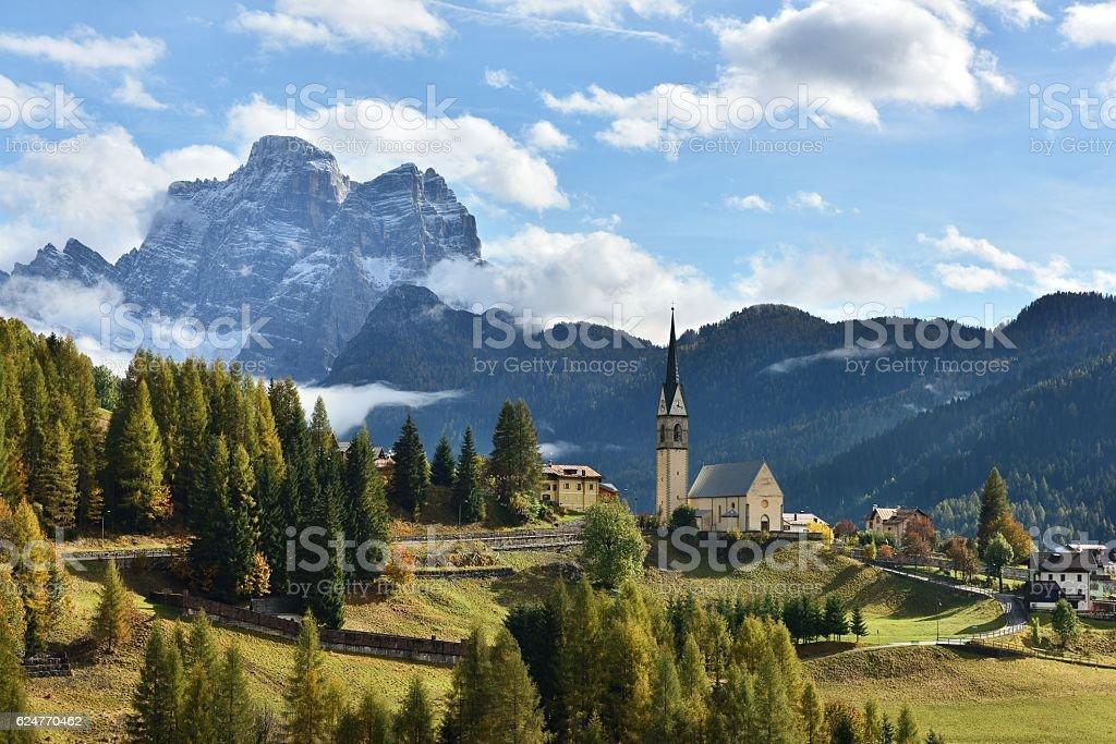 Church Of Selva Di Cadore And Monte Pelmo Peak stock photo