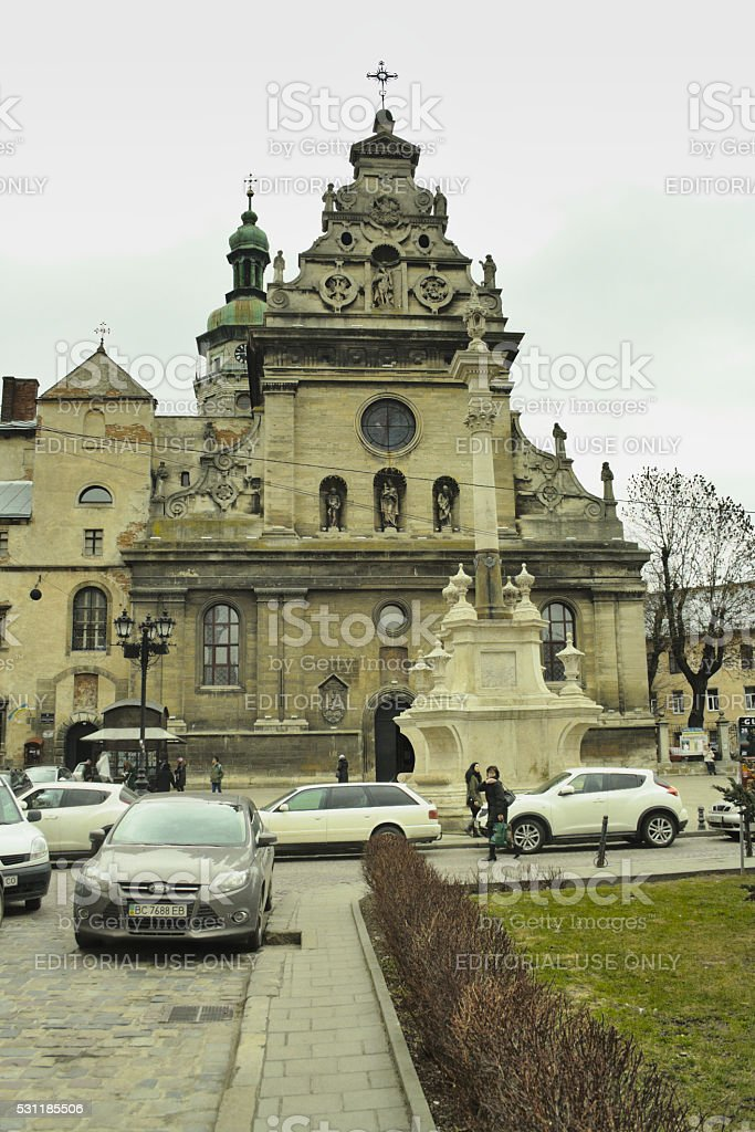 Church of St. Andrew in central part of Lviv, Ukraine. stock photo