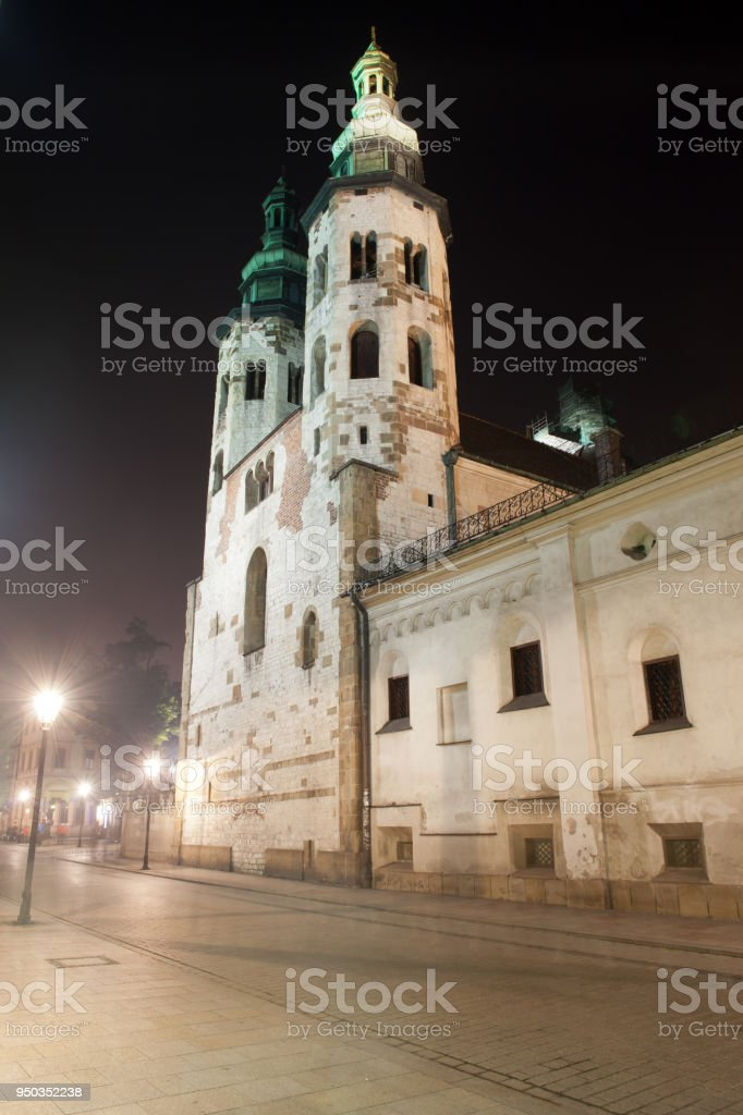 Church of St. Andrew in Krakow at Night stock photo