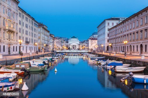 The huge church of St. Antonio Thaumaturgo is situated at the northern end of the Canale Grande. Its neo classical front facade and the cupola represents one of the emblems of the Trieste, city and seaport in northeastern Italy, Europe.