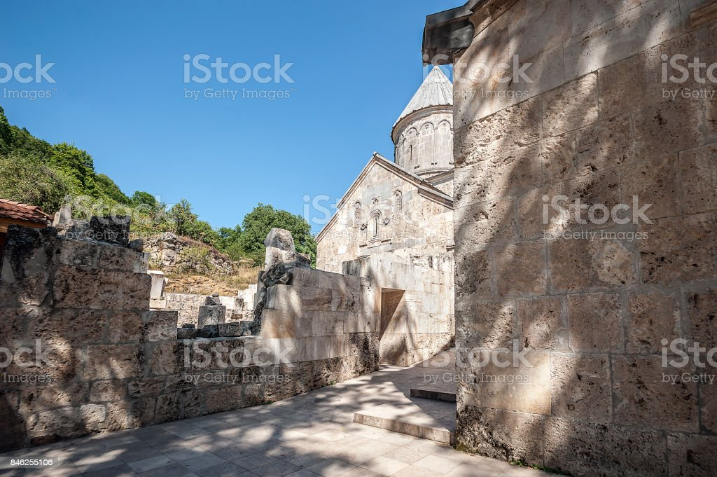 Church of St. Astvatsatsin with the porch of the monastery Haghartsin. stock photo