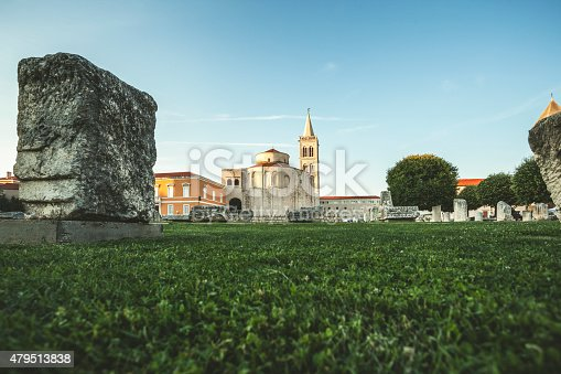 ZADAR, CROATIA - Forum square with Church of St. Donat from a  rare angle, frog's perspective.