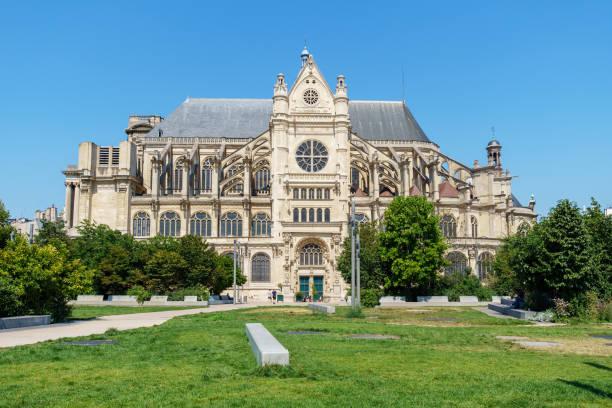 church of st eustache (eglise saint-eustache) in paris, france. - saint eustache church foto e immagini stock
