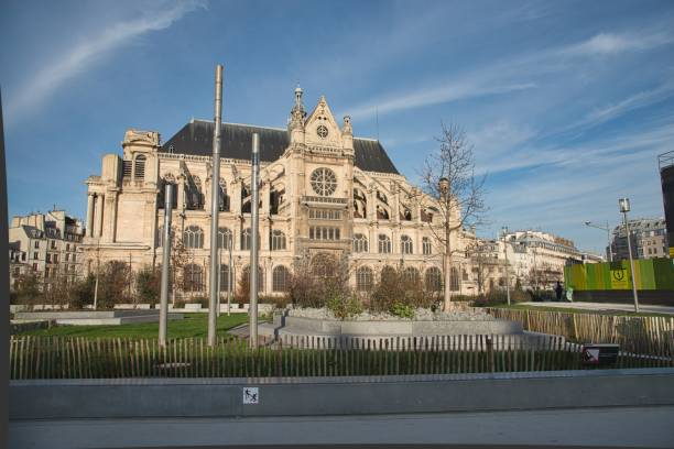 paris, france - january 1, 2015: church of st eustache (eglise saint-eustache) , paris, france - saint eustache church foto e immagini stock