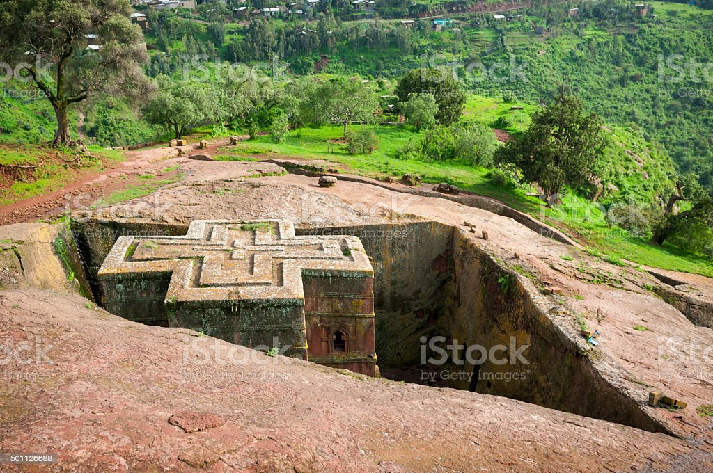 Church of St. George (Bet Giyorgis) in Lalibela, Ethiopia stock photo