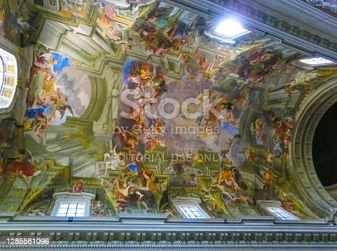 Rome, Italy - September 10, 2015: Church of St. Ignatius. The vault baroque fresco The Apotheosis of St Ignatius by jesuit frater Andrea Pozzo 1685 in church Chiesa di Sant' Ignazio.