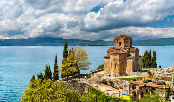 Church of St. John at Kaneo - Ohrid, Macedonia stock photo