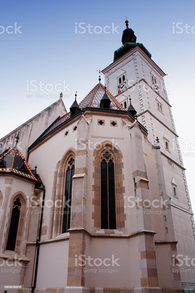Church of St Mark - tower in Zagreb, Croatia stock photo