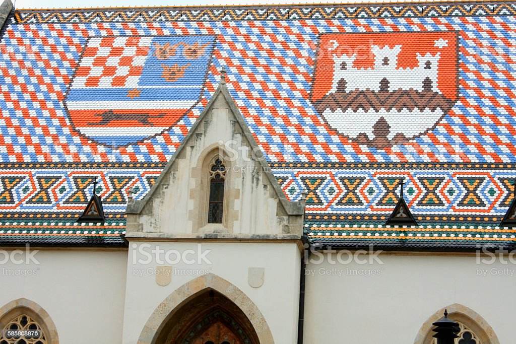 Church of St Mark Zagreb Croatia and coat of arms stock photo