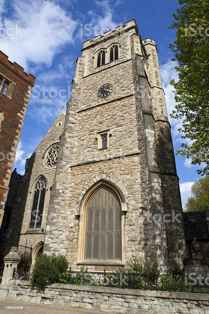 Church of St Mary at Lambeth in London stock photo