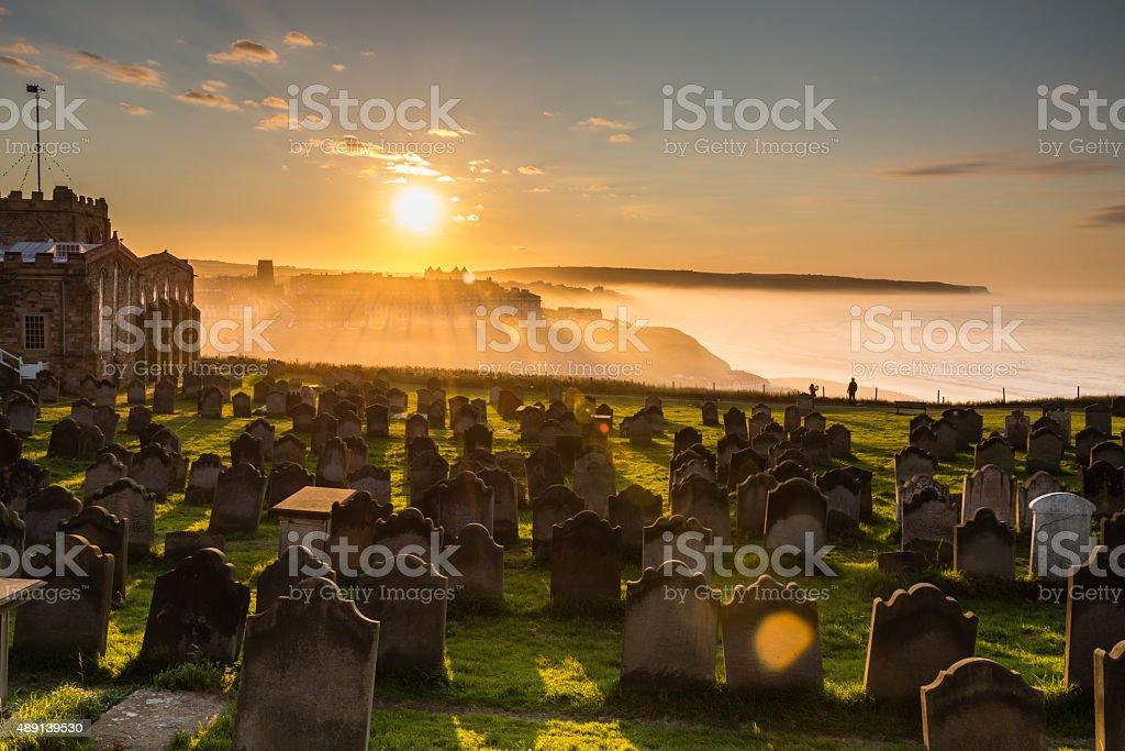 Church of St Mary graveyard sunset stock photo