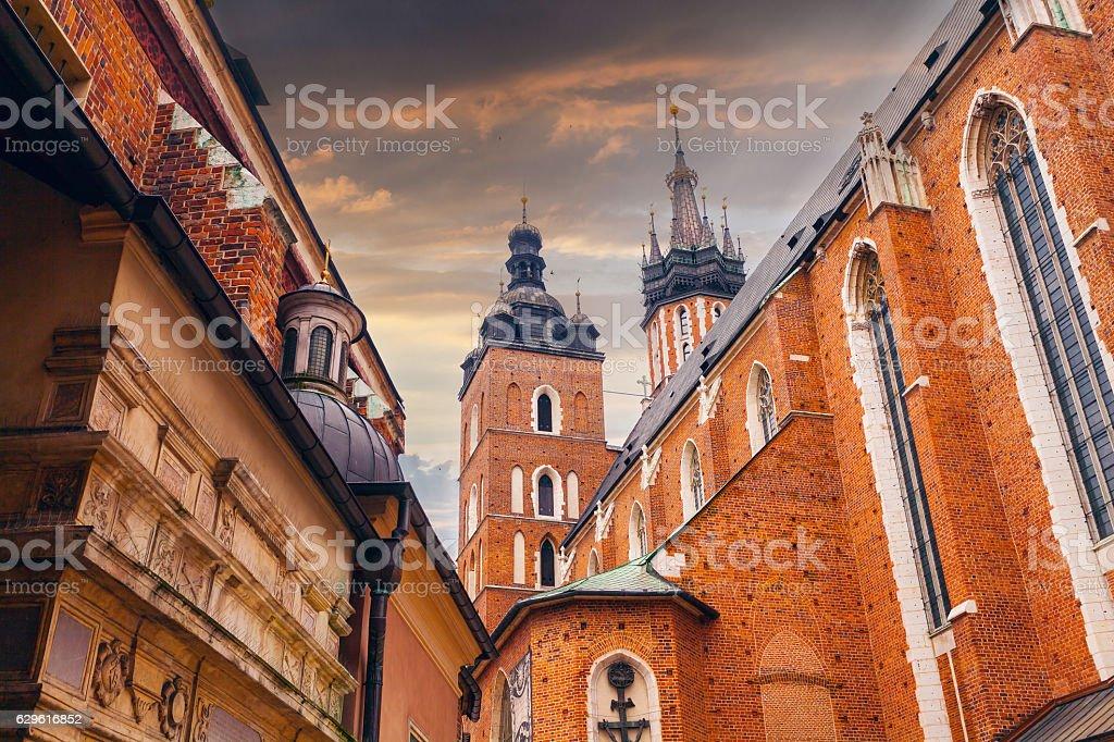 Church of St. Mary in the main Market Square. Krakow. stock photo