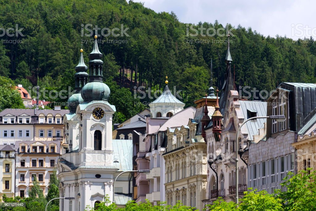 Church of St. Mary Magdalene in spa town Karlovy Vary stock photo