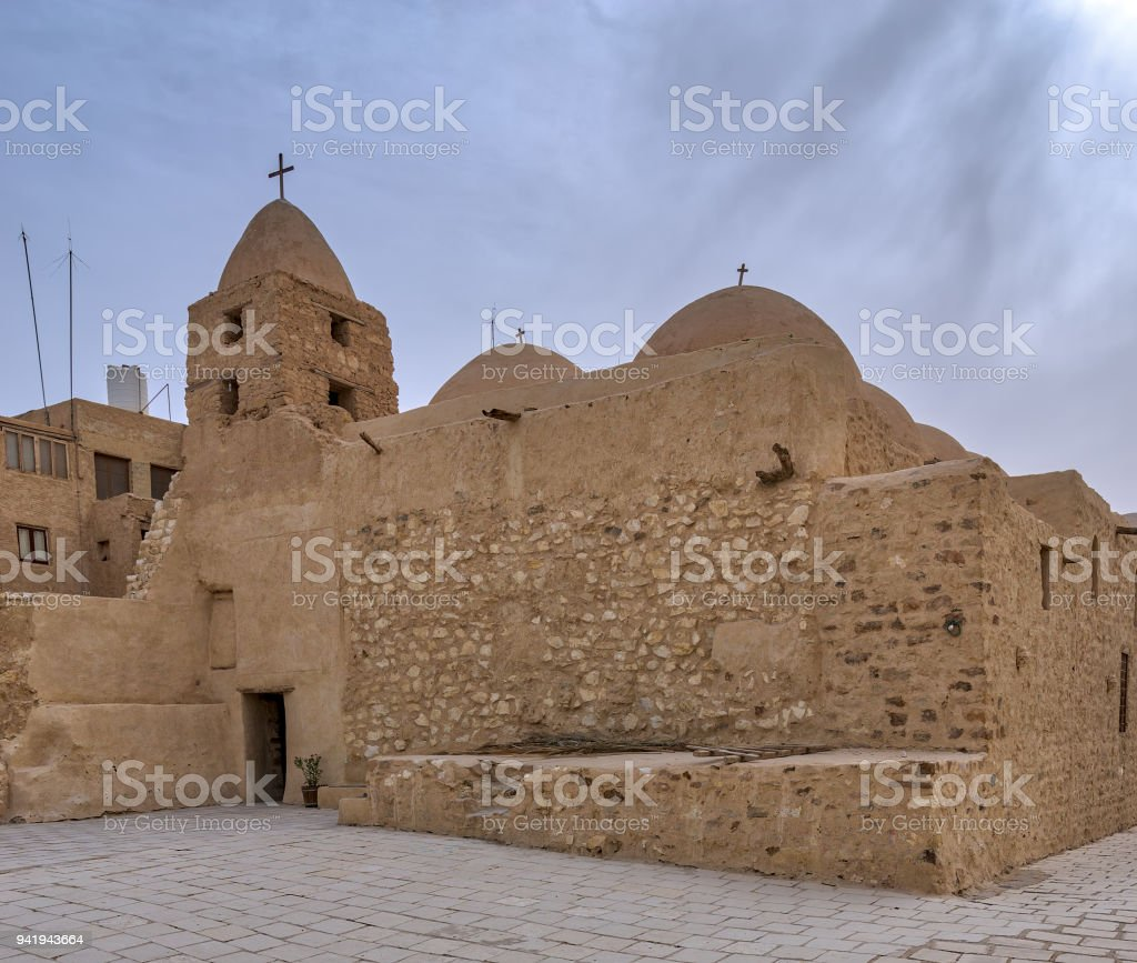 Church of St. Michael, Monastery of Saint Paul the Anchorite, dates to the fifth century AD and located in the Eastern Desert, near the Red Sea mountains, Egypt stock photo