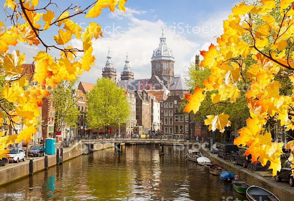 Church of St Nicholas, old town canal, Amsterdam stock photo