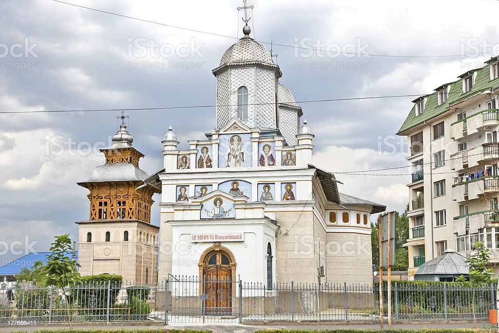Church of St. Nifon  in Targoviste,   Romania. stock photo