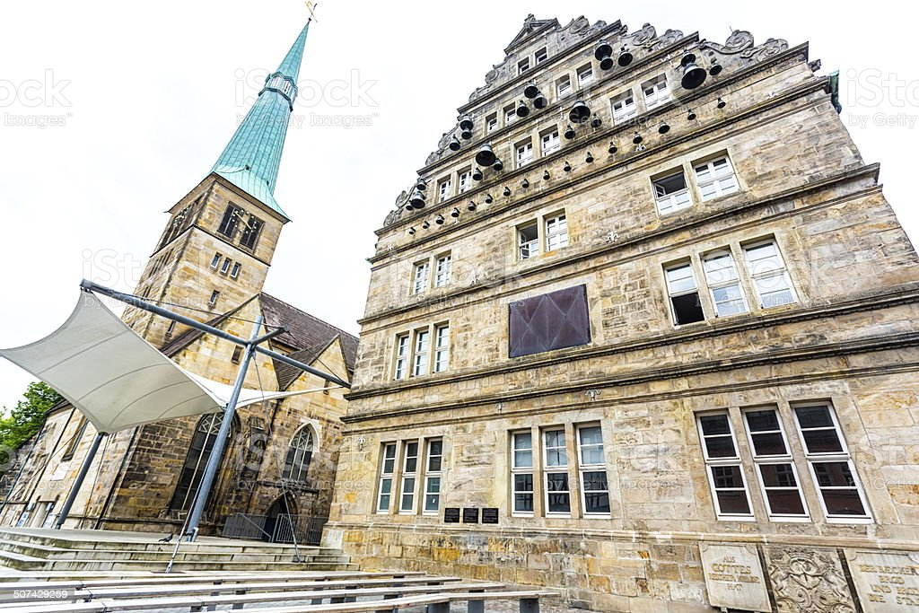Church of St. Nikolas and Hochzeitshaus (Wedding House). Hameln, Germany stock photo
